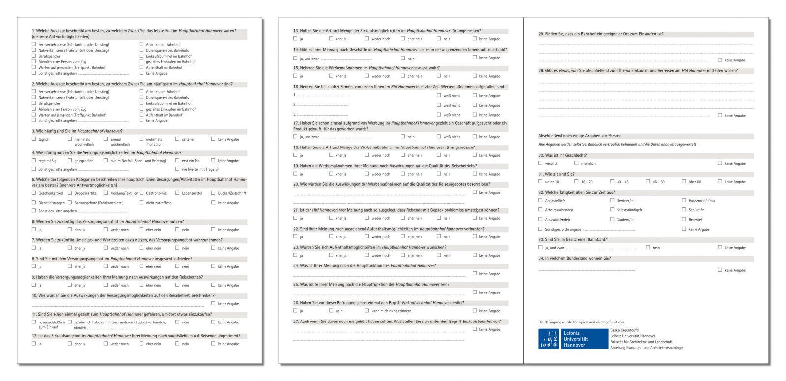 Fragebogen zur Konsumstation mit Gleisanschluss am Hauptbahnhof Hannover