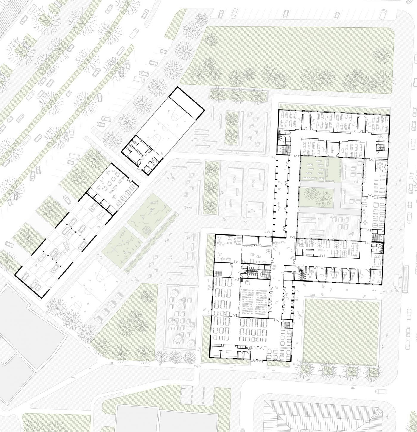 Grundriss Erdgeschoss fuer das Stadtgymnasium in Dortmund am Heiligen Weg