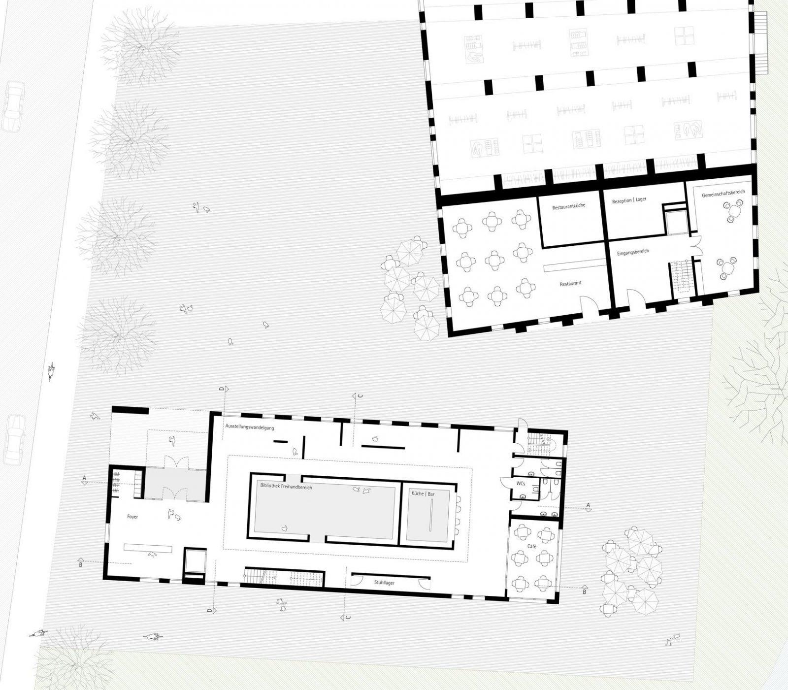 Grundriss Erdgeschoss zum Schriftstellerkolleg in Luebeck