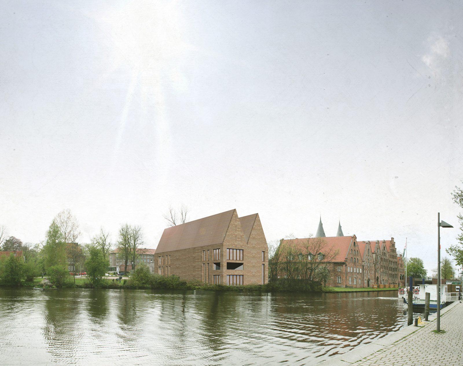 Schriftstellerkolleg in Luebeck zwischen Salzspeicher und Holstentor