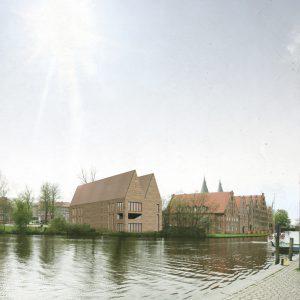Schriftstellerkolleg in Luebeck mit Spitzgiebel zwischen Salzspeicher und Holstentor