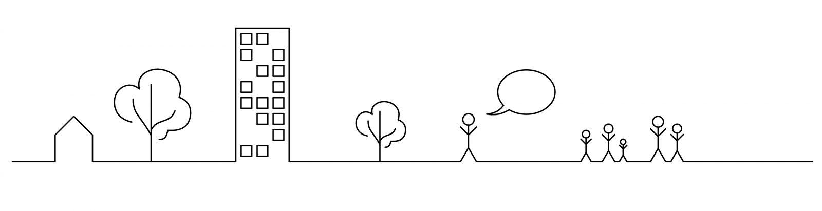 Silhouette Architekturkommunikation zwischen Gestalter und Nutzer